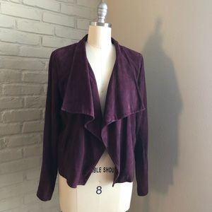Theory Burgundy Genuine Suede Open Jacket
